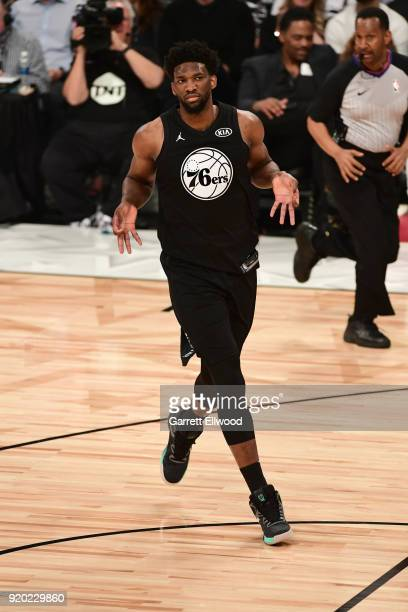 Joel Embiid of Team Stephen celebrates against Team LeBron during the NBA AllStar Game as a part of 2018 NBA AllStar Weekend at STAPLES Center on...