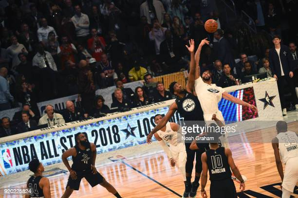 Joel Embiid of team Stephen jumps against Anthony Davis of team LeBron during the NBA AllStar Game as a part of 2018 NBA AllStar Weekend at STAPLES...