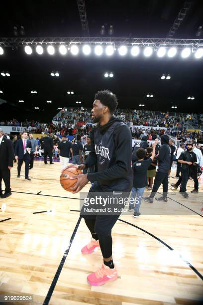 Joel Embiid of Team Stephen participates in the NBA AllStar practice as part of the 2018 NBA AllStar Weekend on February 17 2018 at the Verizon Up...