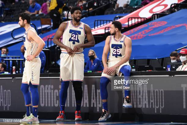 Joel Embiid of the Philadelphia 76ers and Ben Simmons of the Philadelphia 76ers talk during a game against the Brooklyn Nets on April 14, 2021 at...