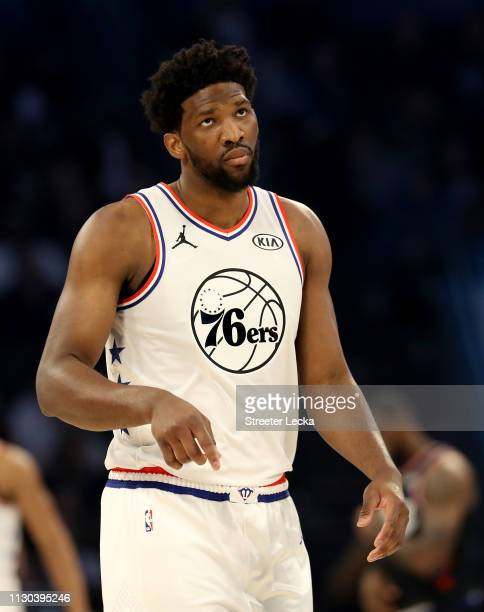 Joel Embiid of the Philadelphia 76ers and Team Giannis reacts during the NBA AllStar game as part of the 2019 NBA AllStar Weekend at Spectrum Center...