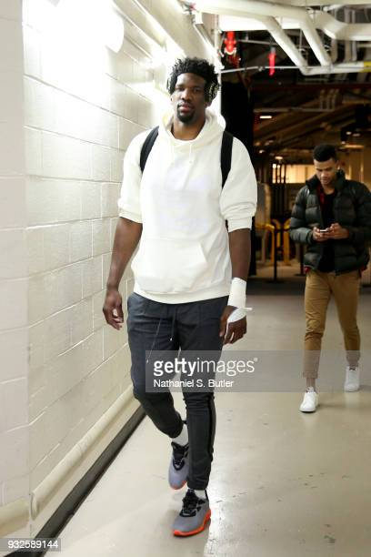 Joel Embiid of the Philadelphia 76ers arrives to the arena prior to the game against the New York Knicks on March 15 2018 at Madison Square Garden in...