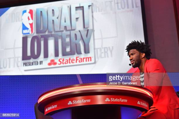 Joel Embiid of the Philadelphia 76ers attends the 2017 NBA Draft Lottery at the New York Hilton in New York New York NOTE TO USER User expressly...