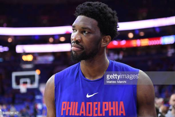 Joel Embiid of the Philadelphia 76ers before the game against the Miami Heat in game one of round one of the 2018 NBA Playoffs on April 14 2018 at...