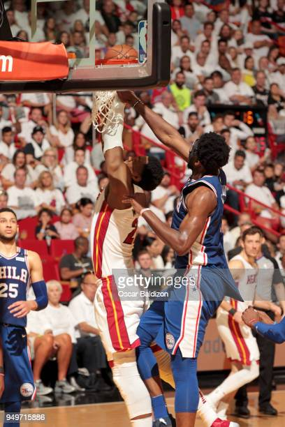 Joel Embiid of the Philadelphia 76ers blocks the shot by Hassan Whiteside of the Miami Heat in Game Four of the Eastern Conference Quarterfinals...