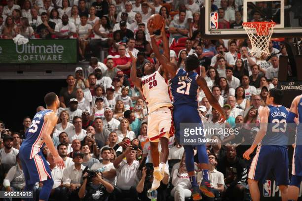 Joel Embiid of the Philadelphia 76ers blocks the shot by Justise Winslow of the Miami Heat in Game Four of the Eastern Conference Quarterfinals...