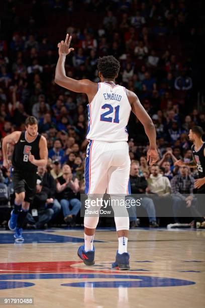 Joel Embiid of the Philadelphia 76ers celebrates a three point basket during the game against the LA Clippers at Wells Fargo Center on February 10...
