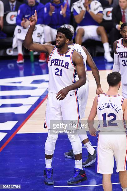 Joel Embiid of the Philadelphia 76ers celebrates after a block during the second half of the game against the Milwaukee Bucks at Wells Fargo Center...