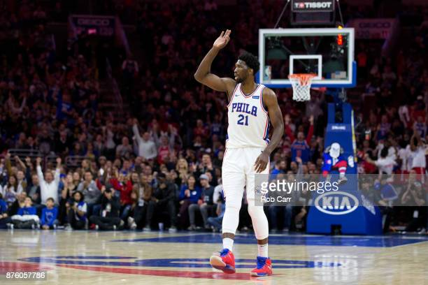 Joel Embiid of the Philadelphia 76ers celebrates after hitting a three pointer against the Golden State Warriors in the first half at Wells Fargo...