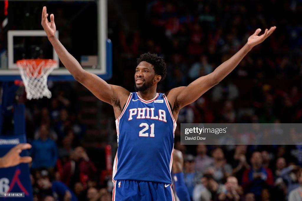 Joel Embiid #21 of the Philadelphia 76ers celebrates against the New York Knicks on February 12, 2018 in Philadelphia, Pennsylvania at Wells Fargo Center.