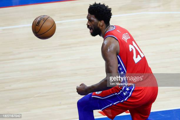 Joel Embiid of the Philadelphia 76ers celebrates during the first quarter against the Atlanta Hawks during Game One of the Eastern Conference second...