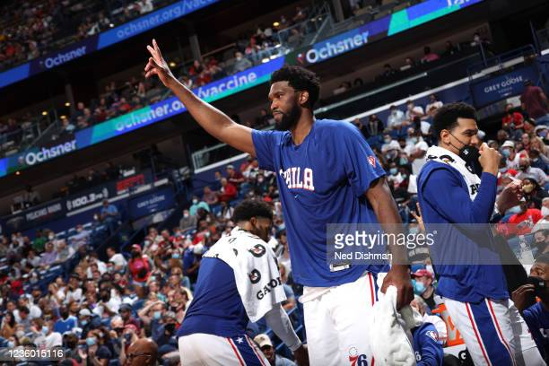 Joel Embiid of the Philadelphia 76ers celebrates during the game against the New Orleans Pelicans on October 20, 2021 at the Smoothie King Center in...