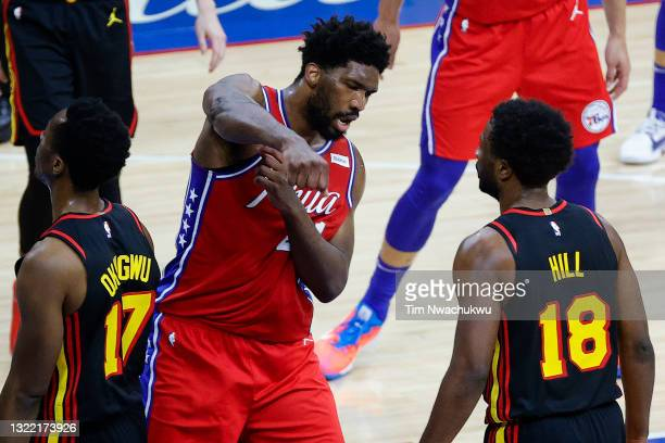 Joel Embiid of the Philadelphia 76ers celebrates during the second quarter against the Atlanta Hawks during Game One of the Eastern Conference second...