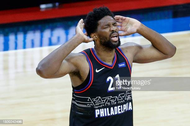 Joel Embiid of the Philadelphia 76ers celebrates during the third quarter against the Washington Wizards during Game Two of the Eastern Conference...