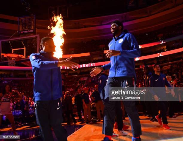 Joel Embiid of the Philadelphia 76ers comes out against the Oklahoma City Thunder at Wells Fargo Center on December 15 2017 in Philadelphia...