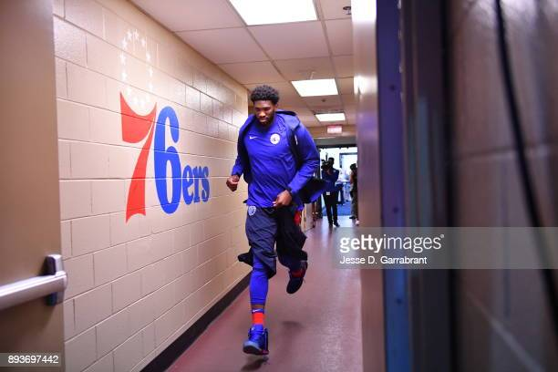 Joel Embiid of the Philadelphia 76ers comes out to the crowd against the Oklahoma City Thunder at Wells Fargo Center on December 15 2017 in...