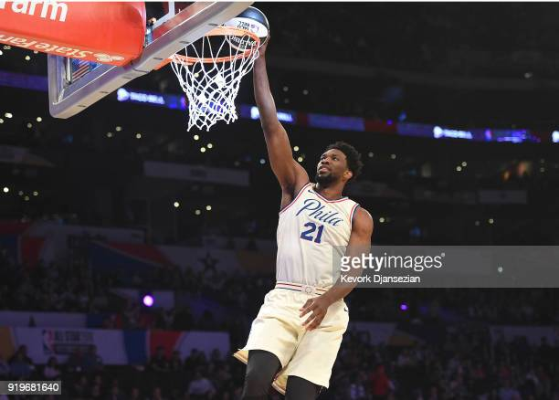 Joel Embiid of the Philadelphia 76ers competes in the 2018 Taco Bell Skills Challenge at Staples Center on February 17 2018 in Los Angeles California