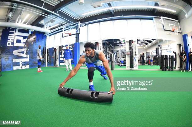 Joel Embiid of the Philadelphia 76ers conditions during practice at the Sixers Training Complex in Camden New Jersey on December 14 2017 NOTE TO USER...