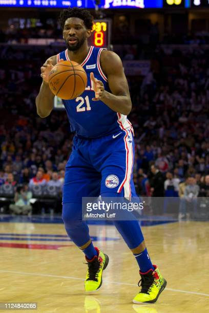 Joel Embiid of the Philadelphia 76ers controls the ball against the San Antonio Spurs at the Wells Fargo Center on January 23 2019 in Philadelphia...