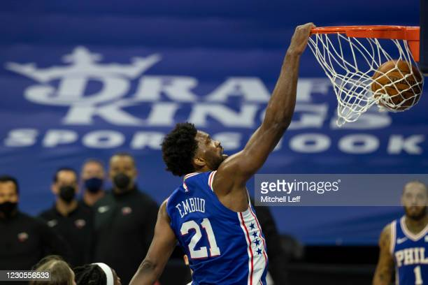 Joel Embiid of the Philadelphia 76ers dunks the ball against the Miami Heat in the third quarter of their game at the Wells Fargo Center on January...