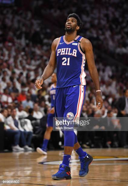 Joel Embiid of the Philadelphia 76ers during a break in action in the third quarter against the Miami Heat during Game Four of Round One of the 2018...