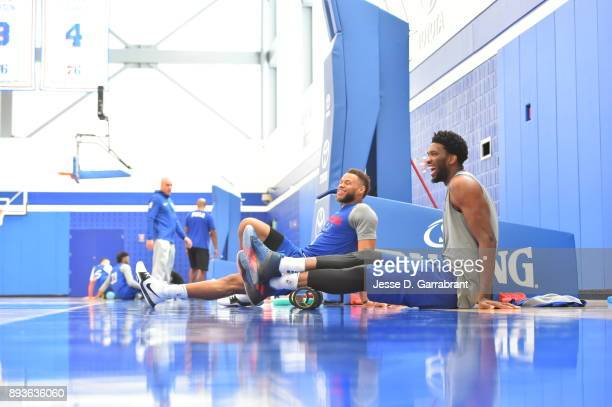 Joel Embiid of the Philadelphia 76ers during practice at the Sixers Training Complex in Camden New Jersey on December 14 2017 NOTE TO USER User...