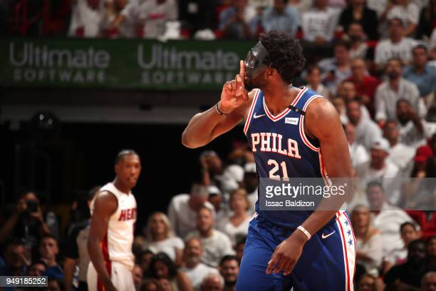 Joel Embiid of the Philadelphia 76ers during the game against the Miami Heat in Game Three of Round One of the 2018 NBA Playoffs on April 19 2018 at...