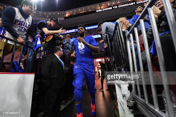 Joel Embiid of the Philadelphia 76ers enters the arena prior to a game against the Brooklyn Nets during Game Two of Round One of the 2019 NBA...