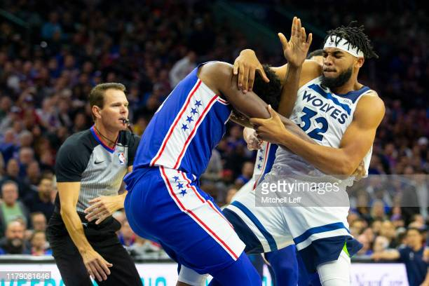 Joel Embiid of the Philadelphia 76ers gets in a fight with KarlAnthony Towns of the Minnesota Timberwolves in the third quarter at the Wells Fargo...