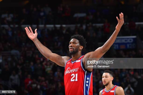 Joel Embiid of the Philadelphia 76ers gets the crowd pumped up against the Oklahoma City Thunder at Wells Fargo Center on December 15 2017 in...