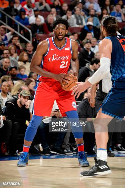 Joel Embiid of the Philadelphia 76ers handles the ball during the game against the Oklahoma City Thunder on December 15 2017 at the Wells Fargo...