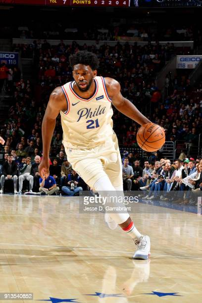 Joel Embiid of the Philadelphia 76ers handles the ball during the game against the Miami Heat on February 2 2018 in Philadelphia Pennsylvania NOTE TO...