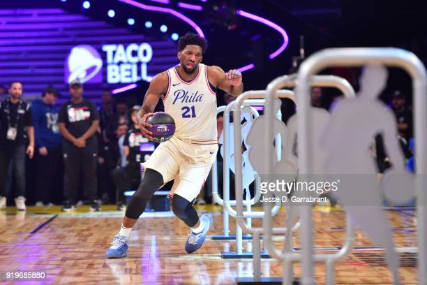Joel Embiid of the Philadelphia 76ers handles the ball during the Taco Bell Skills Challenge during State Farm AllStar Saturday Night as part of the...