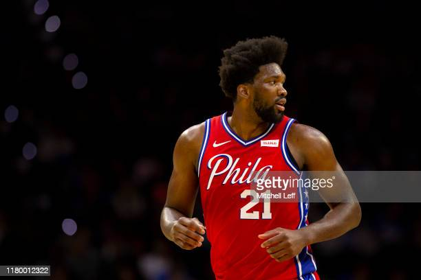Joel Embiid of the Philadelphia 76ers in action against the Guangzhou Long Lions during the preseason game at the Wells Fargo Center on October 8,...