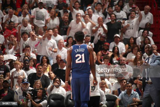 Joel Embiid of the Philadelphia 76ers in Game Four of the Eastern Conference Quarterfinals against the Miami Heat during the 2018 NBA Playoffs on...