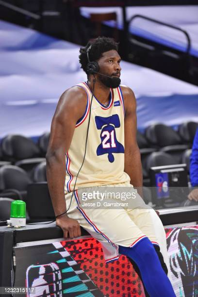 Joel Embiid of the Philadelphia 76ers is interviewed after a game against the Brooklyn Nets on April 14, 2021 at Wells Fargo Center in Philadelphia,...