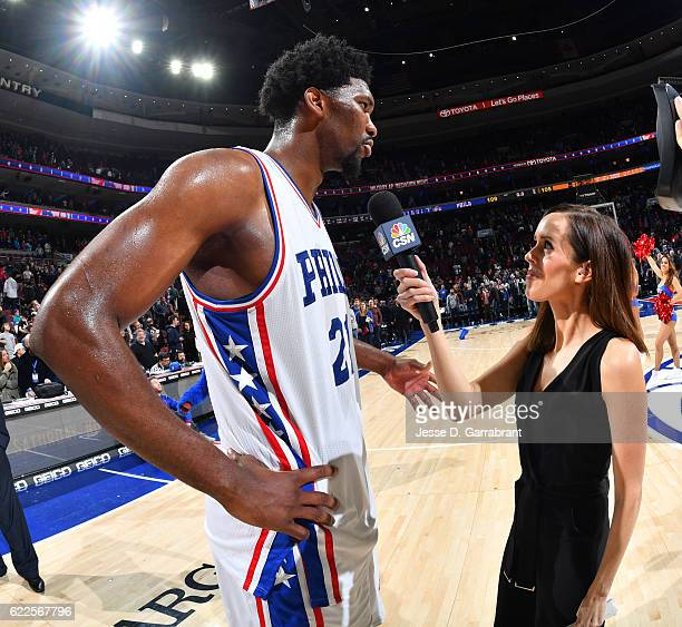 Joel Embiid of the Philadelphia 76ers is interviewed after the game with Molly Sullivan against the Indiana Pacers during a game at the Wells Fargo...