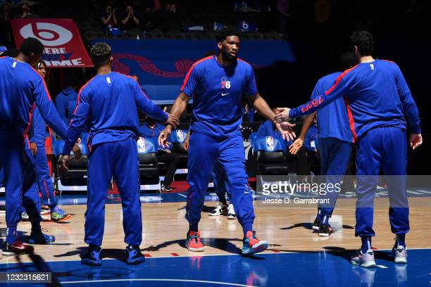 Joel Embiid of the Philadelphia 76ers is introduced prior to a game against the Brooklyn Nets on April 14, 2021 at Wells Fargo Center in...