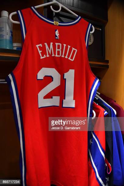 Joel Embiid of the Philadelphia 76ers jersey hangs in the lock prior to the game against the Oklahoma City Thunder at Wells Fargo Center on December...