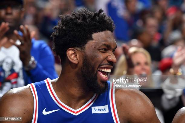 Joel Embiid of the Philadelphia 76ers laughs during a game against the Brooklyn Nets during Game Two of Round One of the 2019 NBA Playoffs on April...