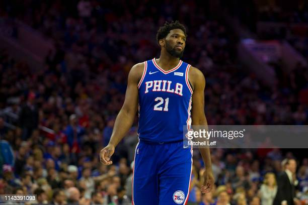 Joel Embiid of the Philadelphia 76ers looks on against the Brooklyn Nets in Game Two of Round One of the 2019 NBA Playoffs at the Wells Fargo Center...