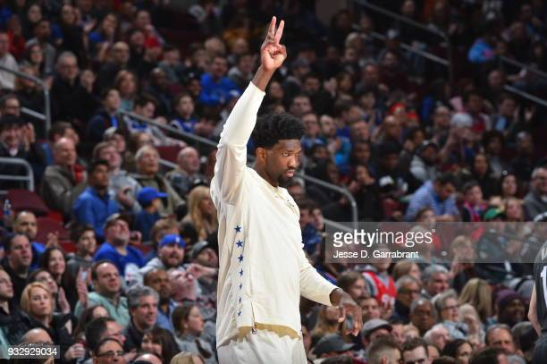 Joel Embiid of the Philadelphia 76ers looks on against the Brooklyn Nets at the Wells Fargo Center on March 16 2018 in Philadelphia Pennsylvania NOTE...