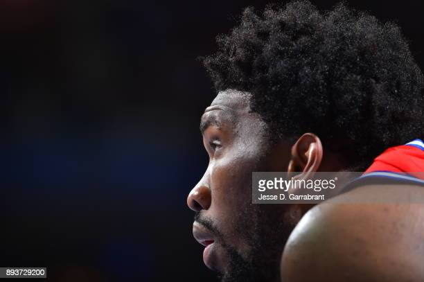 Joel Embiid of the Philadelphia 76ers looks on against the Oklahoma City Thunder at Wells Fargo Center on December 15 2017 in Philadelphia...