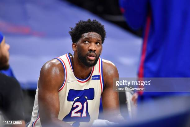 Joel Embiid of the Philadelphia 76ers looks on during a game against the Brooklyn Nets on April 14, 2021 at Wells Fargo Center in Philadelphia,...