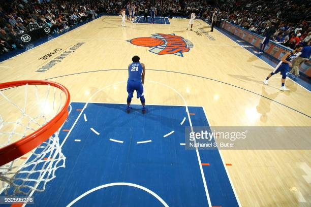 Joel Embiid of the Philadelphia 76ers looks on during the game against the New York Knicks on March 15 2018 at Madison Square Garden in New York City...
