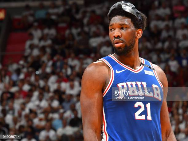 Joel Embiid of the Philadelphia 76ers looks on during the game against the Miami Heat in Game Three of Round One of the 2018 NBA Playoffs on April 19...