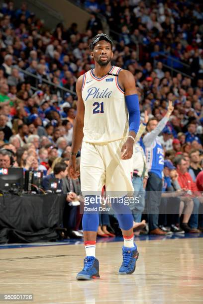 Joel Embiid of the Philadelphia 76ers looks on during the game against the Miami Heat in Game Five of Round One of the 2018 NBA Playoffs on April 24...