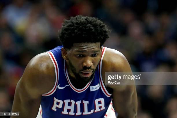 Joel Embiid of the Philadelphia 76ers looks on San Antonio Spurs at Wells Fargo Center on January 3 2018 in Philadelphia Pennsylvania NOTE TO USER...