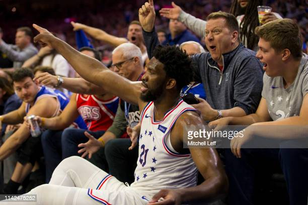 Joel Embiid of the Philadelphia 76ers points after a turnover by the Toronto Raptors in the second quarter of Game Six of the Eastern Conference...