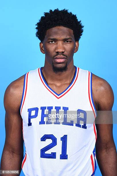 Joel Embiid of the Philadelphia 76ers poses for a head shot during media day at the Philadelphia 76ers Training Complex on September 262016 in Camden...